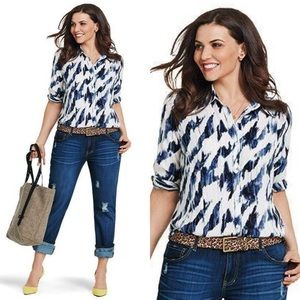 CAbi Moody Blues Button Down Blouse Top #3096 SM